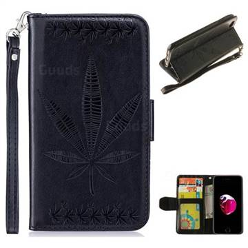 Intricate Embossing Maple Leather Wallet Case for iPhone 8 Plus / 7 Plus 7P(5.5 inch) - Black