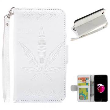 Intricate Embossing Maple Leather Wallet Case for iPhone 8 Plus / 7 Plus 7P(5.5 inch) - White