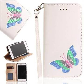 Imprint Embossing Butterfly Leather Wallet Case for iPhone 8 Plus / 7 Plus 7P(5.5 inch) - White