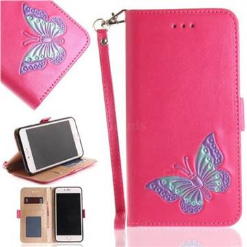Imprint Embossing Butterfly Leather Wallet Case for iPhone 8 Plus / 7 Plus 7P(5.5 inch) - Rose Red