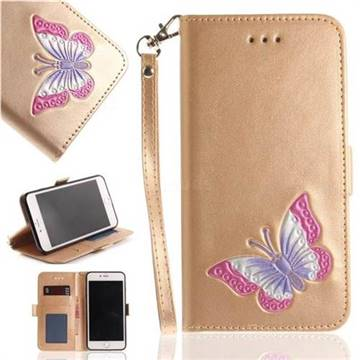 Imprint Embossing Butterfly Leather Wallet Case for iPhone 8 Plus / 7 Plus 7P(5.5 inch) - Golden