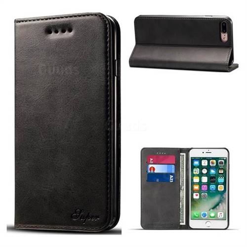 Suteni Simple Style Calf Stripe Leather Wallet Phone Case for iPhone 8 Plus / 7 Plus 7P(5.5 inch) - Black