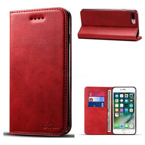 Suteni Simple Style Calf Stripe Leather Wallet Phone Case for iPhone 8 Plus / 7 Plus 7P(5.5 inch) - Red