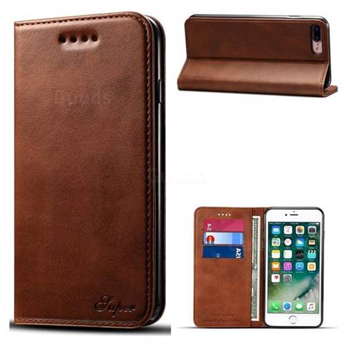 Suteni Simple Style Calf Stripe Leather Wallet Phone Case for iPhone 8 Plus / 7 Plus 7P(5.5 inch) - Brown