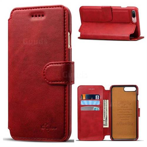 Calf Stripe Leather Wallet Flip Case for iPhone 8 Plus / 7 Plus 7P(5.5 inch) - Red
