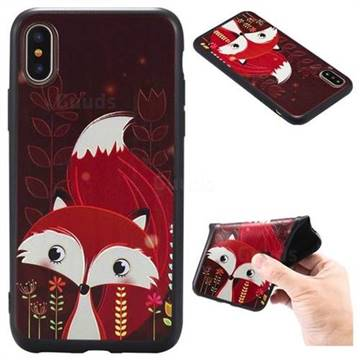 Red Fox 3D Embossed Relief Black TPU Back Cover for iPhone X(5.8 inch)