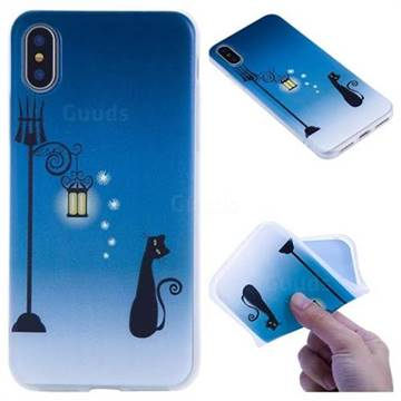 Street Light Cat 3D Relief Matte Soft TPU Back Cover for iPhone X(5.8 inch)