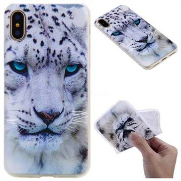 White Leopard 3D Relief Matte Soft TPU Back Cover for iPhone X(5.8 inch)
