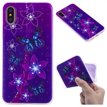 Butterfly Flowers 3D Relief Matte Soft TPU Back Cover for iPhone X(5.8 inch)
