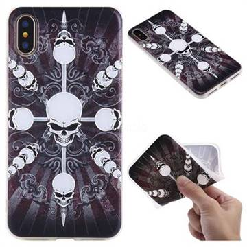 Compass Skulls 3D Relief Matte Soft TPU Back Cover for iPhone X(5.8 inch)