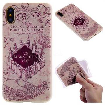 Castle The Marauders Map 3D Relief Matte Soft TPU Back Cover for iPhone X(5.8 inch)