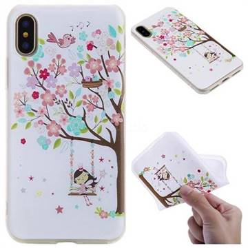 Tree and Girl 3D Relief Matte Soft TPU Back Cover for iPhone X(5.8 inch)