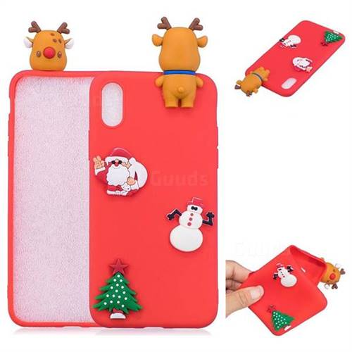 Red Elk Christmas Xmax Soft 3D Silicone Case for iPhone X(5.8 inch)