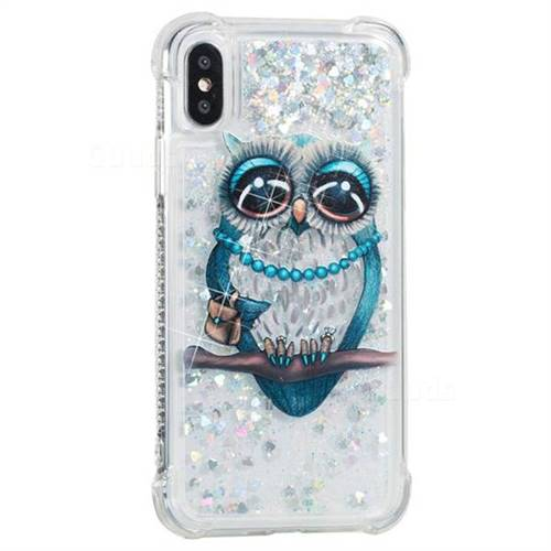Sweet Gray Owl Dynamic Liquid Glitter Sand Quicksand Star TPU Case for iPhone X(5.8 inch)