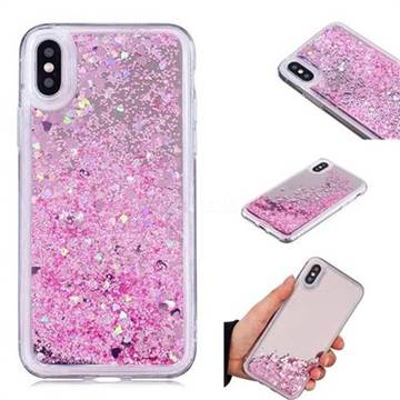 Glitter Sand Mirror Quicksand Dynamic Liquid Star TPU Case for iPhone X(5.8 inch) - Cherry Pink