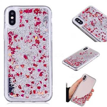 Glitter Sand Mirror Quicksand Dynamic Liquid Star TPU Case for iPhone X(5.8 inch) - Red