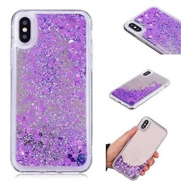 Glitter Sand Mirror Quicksand Dynamic Liquid Star TPU Case for iPhone X(5.8 inch) - Purple
