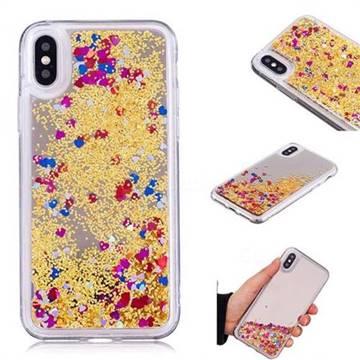 Glitter Sand Mirror Quicksand Dynamic Liquid Star TPU Case for iPhone X(5.8 inch) - Yellow