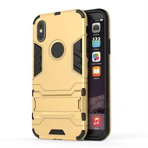 Armor Premium Tactical Grip Kickstand Shockproof Dual Layer Rugged Hard Cover for iPhone X(5.8 inch) - Golden