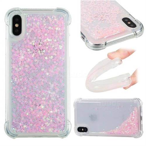 Dynamic Liquid Glitter Sand Quicksand TPU Case for iPhone X(5.8 inch) - Silver Powder Star