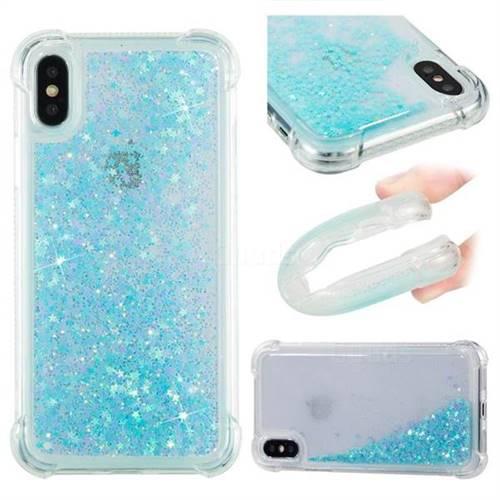 Dynamic Liquid Glitter Sand Quicksand TPU Case for iPhone X(5.8 inch) - Silver Blue Star