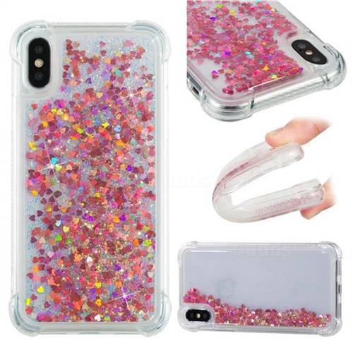 Dynamic Liquid Glitter Sand Quicksand TPU Case for iPhone X(5.8 inch) - Rose Gold Love Heart