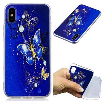 Gold and Blue Butterfly Super Clear Soft TPU Back Cover for iPhone X(5.8 inch)