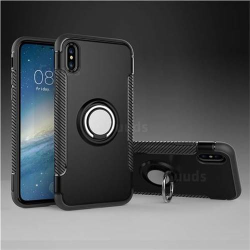 Armor Anti Drop Carbon PC + Silicon Invisible Ring Holder Phone Case for iPhone X(5.8 inch) - Black