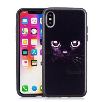 Black Cat Eyes 3D Embossed Relief Black Soft Phone Back Cover for iPhone X(5.8 inch)