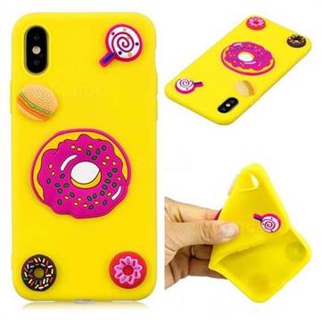 Yellow Donut Soft 3D Silicon Phone Back Cover for iPhone X(5.8 inch)