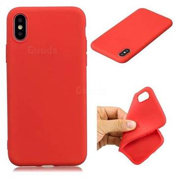 Candy TPU Soft Back Phone Cover for iPhone X(5.8 inch) - Red