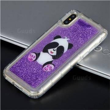 Naughty Panda Glassy Glitter Quicksand Dynamic Liquid Soft Phone Case for iPhone X(5.8 inch)