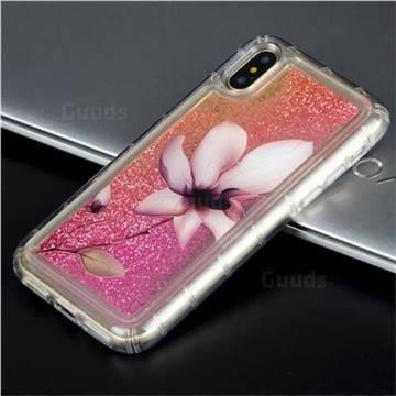 Lotus Glassy Glitter Quicksand Dynamic Liquid Soft Phone Case for iPhone X(5.8 inch)