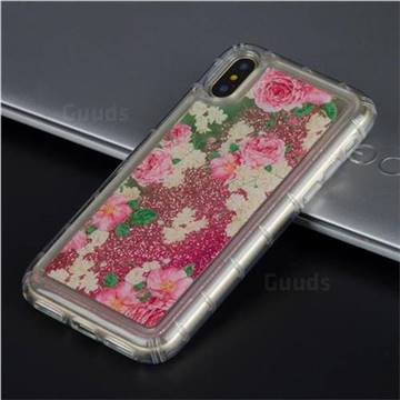 Rose Flower Glassy Glitter Quicksand Dynamic Liquid Soft Phone Case for iPhone X(5.8 inch)