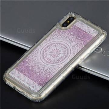 Mandala Glassy Glitter Quicksand Dynamic Liquid Soft Phone Case for iPhone X(5.8 inch)