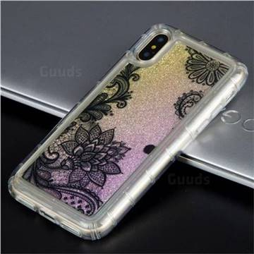 Diagonal Lace Glassy Glitter Quicksand Dynamic Liquid Soft Phone Case for iPhone X(5.8 inch)