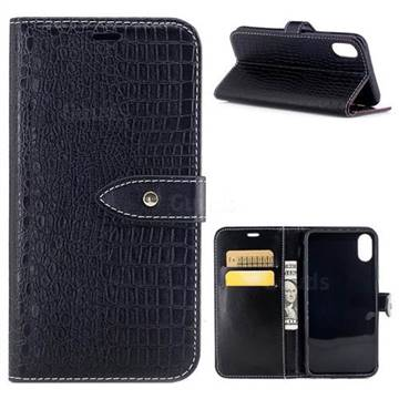 Luxury Retro Crocodile PU Leather Wallet Case for iPhone X(5.8 inch) - Black