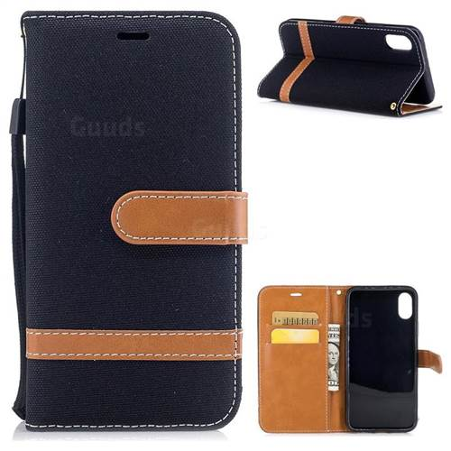 Jeans Cowboy Denim Leather Wallet Case for iPhone X(5.8 inch) - Black