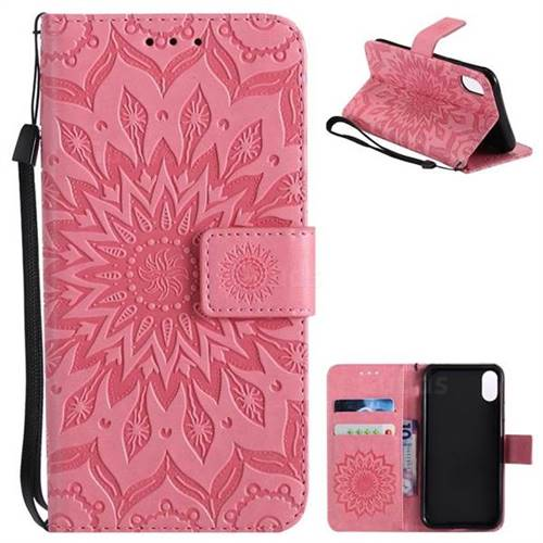 Embossing Sunflower Leather Wallet Case for iPhone X(5.8 inch) - Pink