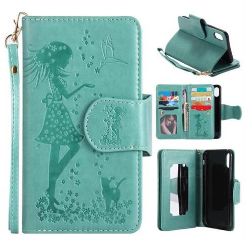 Embossing Cat Girl 9 Card Leather Wallet Case for iPhone X(5.8 inch) - Green
