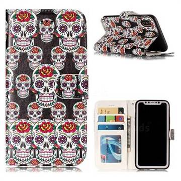 Flower Skull 3D Relief Oil PU Leather Wallet Case for iPhone X(5.8 inch)