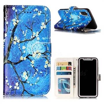 Plum Blossom 3D Relief Oil PU Leather Wallet Case for iPhone X(5.8 inch)