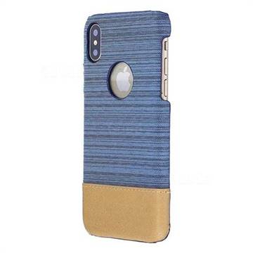 Canvas Cloth Coated Plastic Back Cover for iPhone X(5.8 inch) - Light Blue