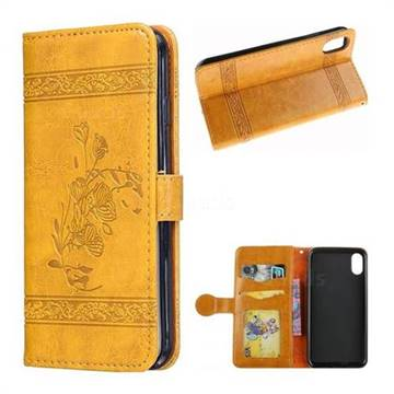Luxury Retro Oil Wax Embossed PU Leather Wallet Case for iPhone X(5.8 inch) - Gold