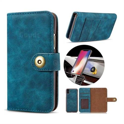 Luxury Vintage Split Separated Leather Wallet Case for iPhone X(5.8 inch) - Navy Blue