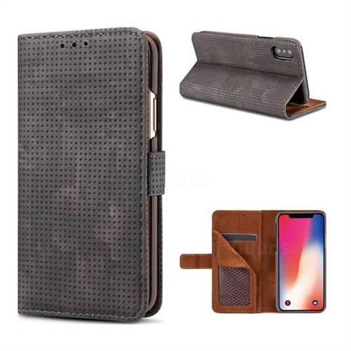 Luxury Vintage Mesh Monternet Leather Wallet Case for iPhone X(5.8 inch) - Black