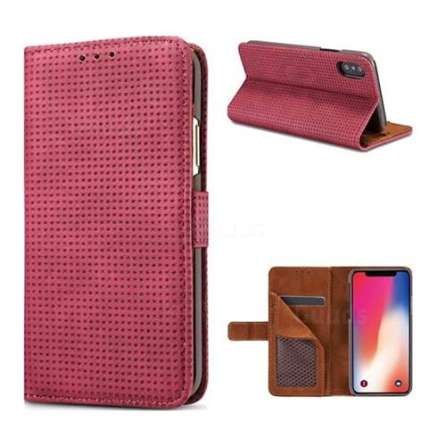 Luxury Vintage Mesh Monternet Leather Wallet Case for iPhone X(5.8 inch) - Rose