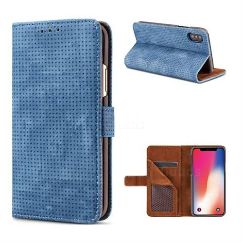 Luxury Vintage Mesh Monternet Leather Wallet Case for iPhone X(5.8 inch) - Blue