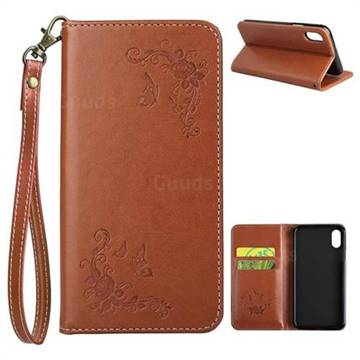 Intricate Embossing Slim Butterfly Rose Leather Holster Case for iPhone X(5.8 inch) - Brown