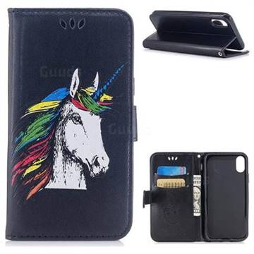 Watercolor Unicorn Leather Wallet Holster Case for iPhone X(5.8 inch) - Black